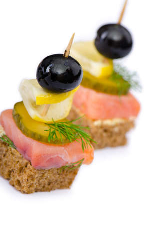 Canape served in the plate photo