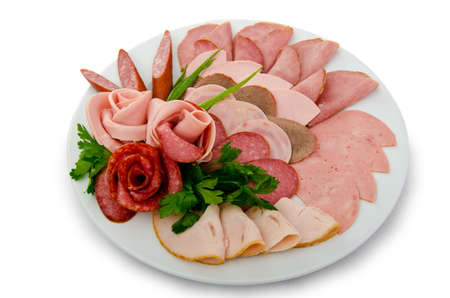 antipasto platter: Meat selection in the plate