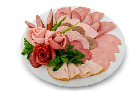 salame: Selezione di carne nel piatto Archivio Fotografico