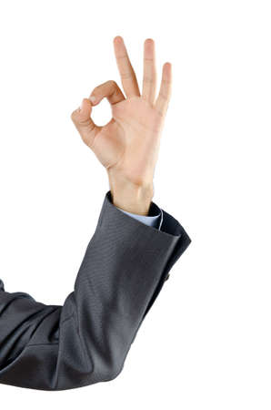Businessman holding empty hands photo
