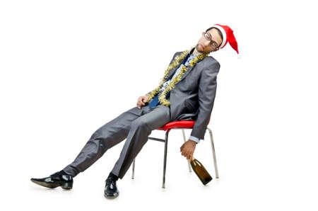 Dronken kantoormedewerker na het kerstfeest