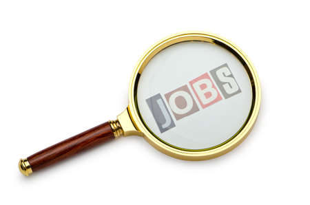 look for: Unemployment concept with magnifying glass