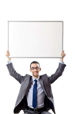 Young businessman with white board Stock Photo - 11126151