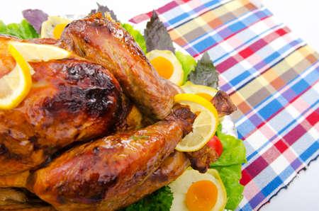 Roasted turkey on the festive table photo