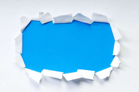 rolled scroll: Space for your message on torn paper Stock Photo
