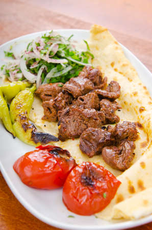 Kebab served in the plate Stock Photo - 11075166