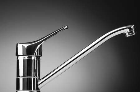 sink drain: Chrome tap against the background Stock Photo