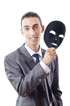 hypocritical: Industrial espionage concept with masked businessman Stock Photo