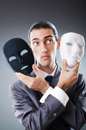Industrial espionate concept with masked businessman Stock Photo - 11156882