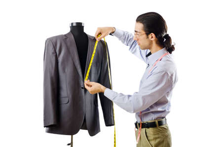 work clothes: Tailor working isolated on white Stock Photo