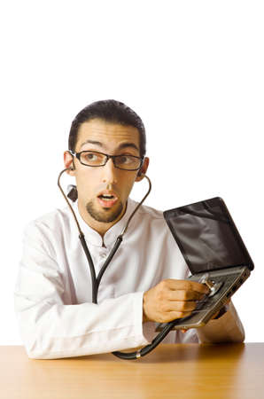 Concept of computer diagnostics on white Stock Photo - 11156504