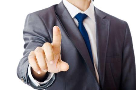 empujando: Hombre de negocios presionando los botones en el aire Foto de archivo