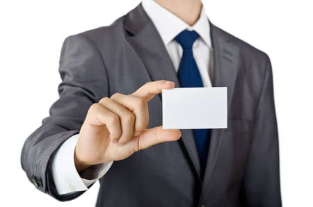 Businessman holding blank message photo