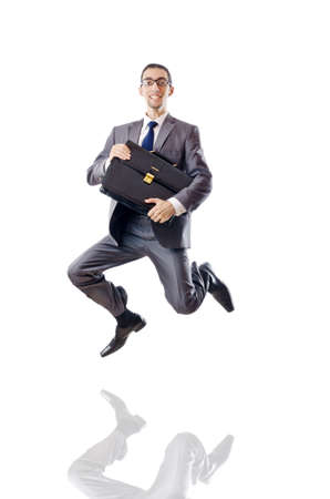 Jumping businessman isolated on white Stock Photo - 11156340
