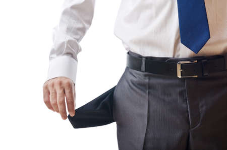 Businessman with empty pockets photo