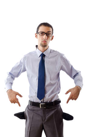moneyless: Businessman with empty pockets Stock Photo