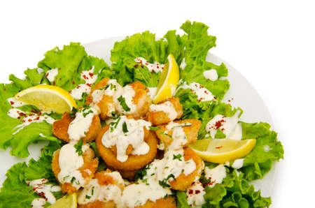 piecies: Chicken piecies on the plate Stock Photo