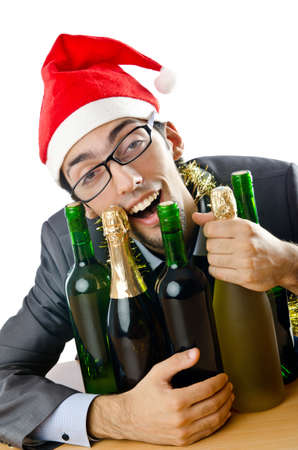 after the party: Drunk office worker after christmas party