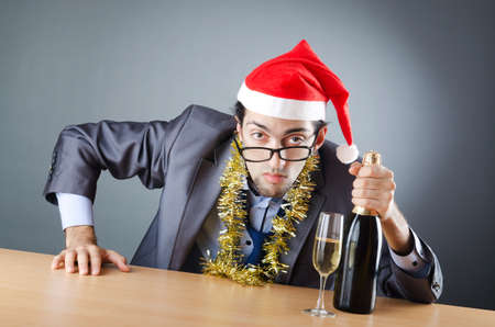 after the party: Drunken businessman after office christmas party Stock Photo
