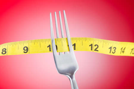Dieting concept with fork and meter photo