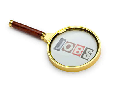Unemployment concept with magnifying glass photo