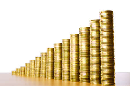 penny: Golden coins showing growth
