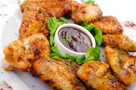 fried chicken wings: Chicken wings in the plate Stock Photo