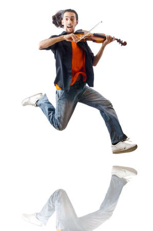 solo violinist: Violin player isolated on white