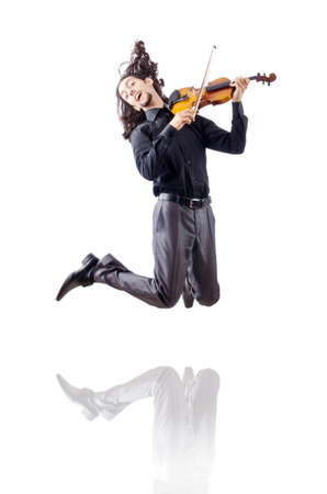 Violin player isolated on white photo