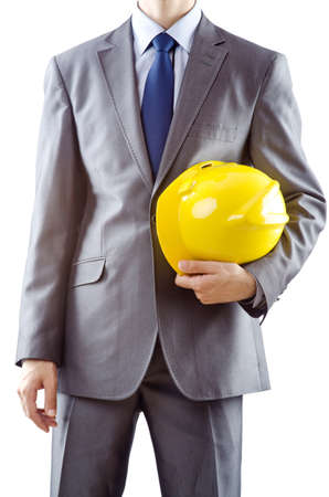 Man with hard hat on white photo
