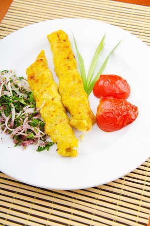 azerbaijani: Traditional azeri kebab made with mashed potato