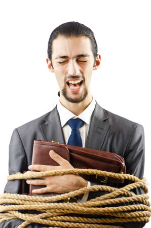 Businessman tied up on white photo