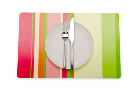 Plate and utensils served on table Stock Photo - 11182208