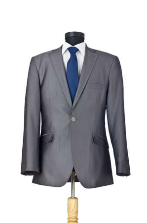 stropdas: Man pak geïsoleerd op de witte Stockfoto
