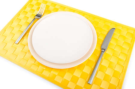 Food utensils served in plate photo