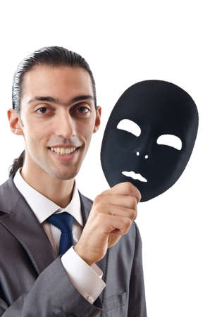 Industrial espionage concept with masked businessman Stock Photo - 11193543