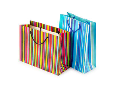 Shopping concept with bag on white photo
