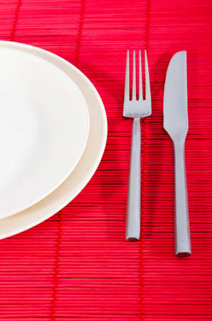 Empty plate with utensils Stock Photo - 11181401