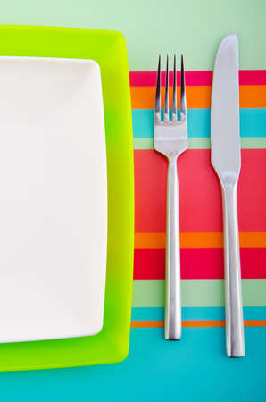 Empty plate with utensils Stock Photo - 11181793