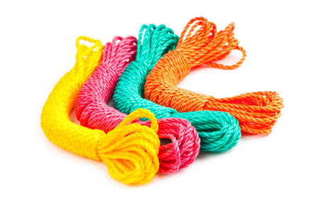 Colourful rope isolated on the white background photo
