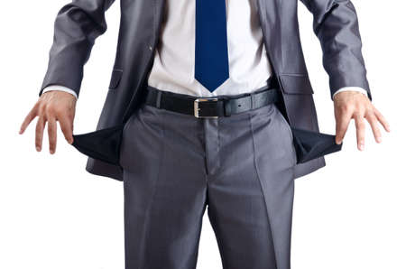 hand in pocket: Businessman with empty pockets Stock Photo