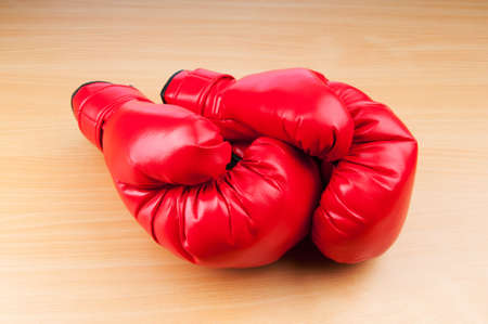 Boxing gloves on the table photo