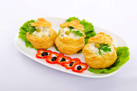 the corn salad: Russian salad served in profiterole Stock Photo
