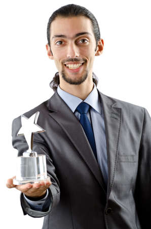 Businessman receiving star award on white photo