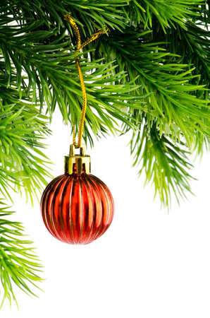 Christmas concept with baubles on white Stock Photo - 11181382