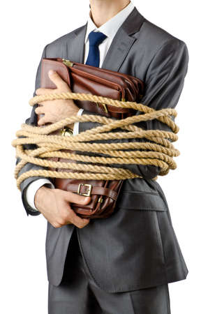 prisoner man: Businessman tied up on white Stock Photo