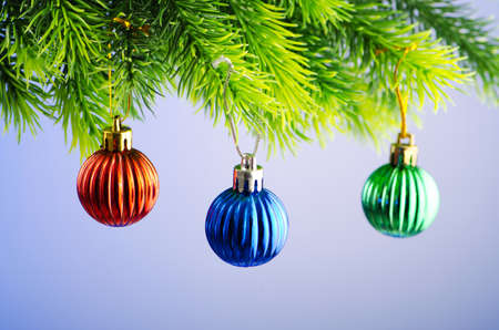 Baubles on christmas tree in celebration concept Stock Photo - 11181302
