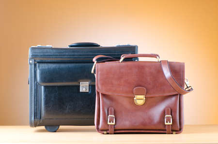 leather bag: Business cases against gradient background Stock Photo