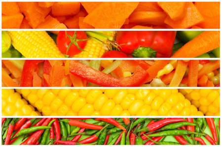 Collage de muchas frutas y verduras photo