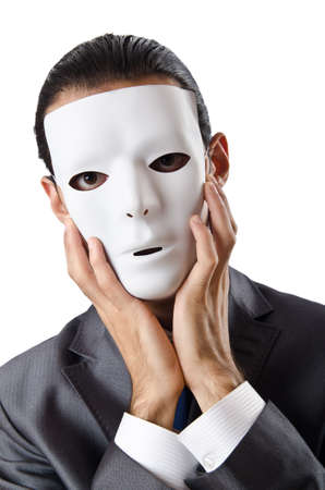impostor: Industrial espionage concept with masked businessman Stock Photo